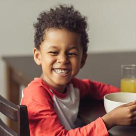 A student enjoying breakfast.