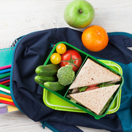 A student's backpack with lunch